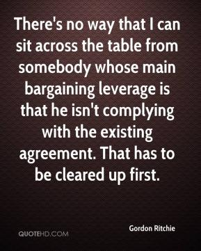 Gordon Ritchie - There's no way that I can sit across the table from somebody whose main bargaining leverage is that he isn't complying with the existing agreement. That has to be cleared up first.