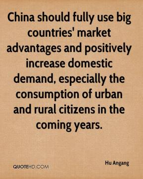 Hu Angang - China should fully use big countries' market advantages and positively increase domestic demand, especially the consumption of urban and rural citizens in the coming years.