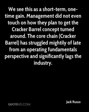 Jack Russo - We see this as a short-term, one-time gain. Management did not even touch on how they plan to get the Cracker Barrel concept turned around. The core chain (Cracker Barrel) has struggled mightily of late from an operating fundamentals perspective and significantly lags the industry.