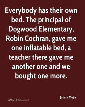 Julissa Mejia  - Everybody has their own bed. The principal of Dogwood Elementary, Robin Cochran, gave me one inflatable bed, a teacher there gave me another one and we bought one more.
