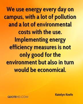 Katelyn Keefe  - We use energy every day on campus, with a lot of pollution and a lot of environmental costs with the use. Implementing energy efficiency measures is not only good for the environment but also in turn would be economical.