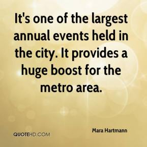 Mara Hartmann  - It's one of the largest annual events held in the city. It provides a huge boost for the metro area.