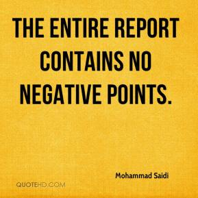 The entire report contains no negative points.
