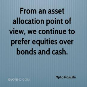 Mpho Mojalefa  - From an asset allocation point of view, we continue to prefer equities over bonds and cash.