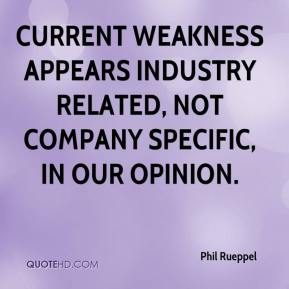 Phil Rueppel  - Current weakness appears industry related, not company specific, in our opinion.
