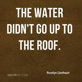 Roselyn Lionheart  - The water didn't go up to the roof.