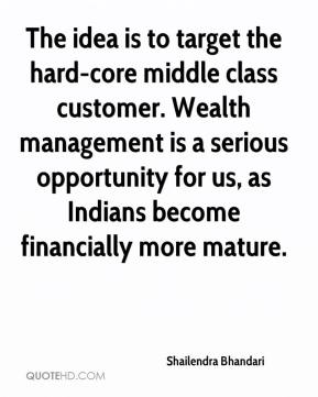 Shailendra Bhandari  - The idea is to target the hard-core middle class customer. Wealth management is a serious opportunity for us, as Indians become financially more mature.