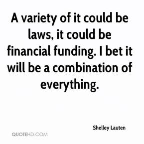 Shelley Lauten  - A variety of it could be laws, it could be financial funding. I bet it will be a combination of everything.