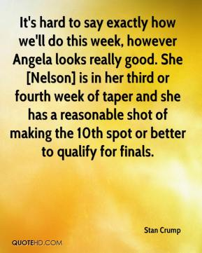 Stan Crump  - It's hard to say exactly how we'll do this week, however Angela looks really good. She [Nelson] is in her third or fourth week of taper and she has a reasonable shot of making the 10th spot or better to qualify for finals.