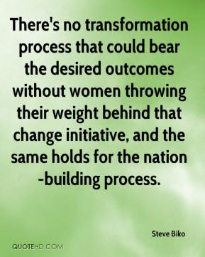 Steve Biko  - There's no transformation process that could bear the desired outcomes without women throwing their weight behind that change initiative, and the same holds for the nation-building process.