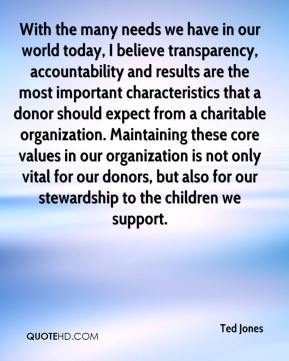Ted Jones  - With the many needs we have in our world today, I believe transparency, accountability and results are the most important characteristics that a donor should expect from a charitable organization. Maintaining these core values in our organization is not only vital for our donors, but also for our stewardship to the children we support.