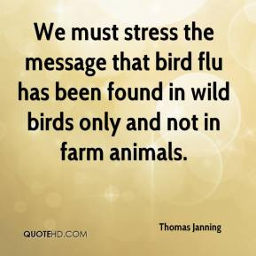 Thomas Janning  - We must stress the message that bird flu has been found in wild birds only and not in farm animals.