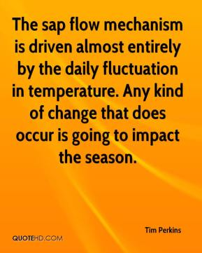 Tim Perkins  - The sap flow mechanism is driven almost entirely by the daily fluctuation in temperature. Any kind of change that does occur is going to impact the season.