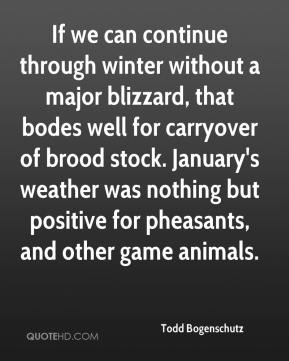 Todd Bogenschutz  - If we can continue through winter without a major blizzard, that bodes well for carryover of brood stock. January's weather was nothing but positive for pheasants, and other game animals.