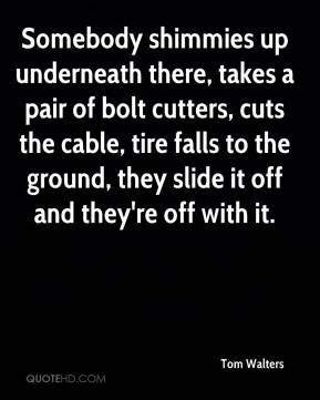 Tom Walters  - Somebody shimmies up underneath there, takes a pair of bolt cutters, cuts the cable, tire falls to the ground, they slide it off and they're off with it.