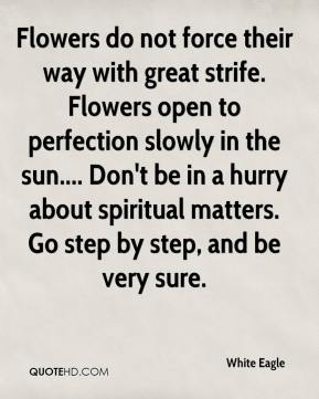 Flowers do not force their way with great strife. Flowers open to perfection slowly in the sun.... Don't be in a hurry about spiritual matters. Go step by step, and be very sure.