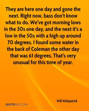 Will Kirkpatrick  - They are here one day and gone the next. Right now, bass don't know what to do. We've got morning lows in the 30s one day, and the next it's a low in the 50s with a high up around 70 degrees. I found some water in the back of Coleman the other day that was 61 degrees. That's very unusual for this time of year.