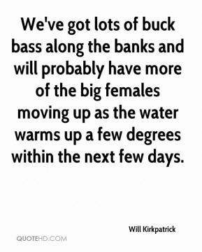 Will Kirkpatrick  - We've got lots of buck bass along the banks and will probably have more of the big females moving up as the water warms up a few degrees within the next few days.