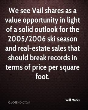 Will Marks  - We see Vail shares as a value opportunity in light of a solid outlook for the 2005/2006 ski season and real-estate sales that should break records in terms of price per square foot.