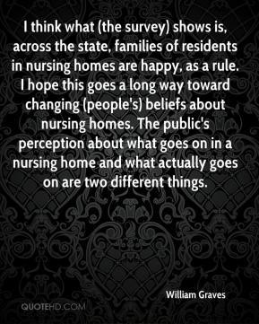 William Graves  - I think what (the survey) shows is, across the state, families of residents in nursing homes are happy, as a rule. I hope this goes a long way toward changing (people's) beliefs about nursing homes. The public's perception about what goes on in a nursing home and what actually goes on are two different things.