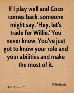 Willie Harris  - If I play well and Coco comes back, someone might say, 'Hey, let's trade for Willie.' You never know. You've just got to know your role and your abilities and make the most of it.