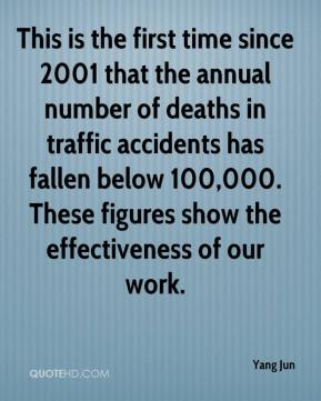 Yang Jun  - This is the first time since 2001 that the annual number of deaths in traffic accidents has fallen below 100,000. These figures show the effectiveness of our work.