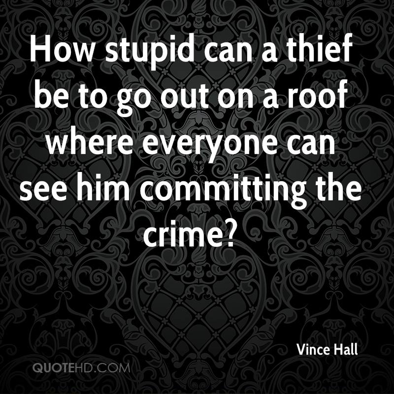 How stupid can a thief be to go out on a roof where everyone can see him committing the crime?