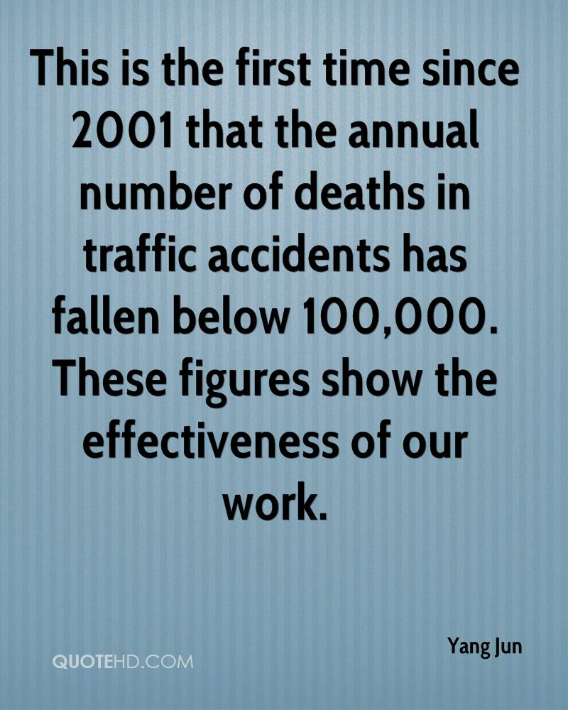 This is the first time since 2001 that the annual number of deaths in traffic accidents has fallen below 100,000. These figures show the effectiveness of our work.