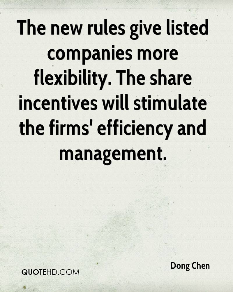 The new rules give listed companies more flexibility. The share incentives will stimulate the firms' efficiency and management.