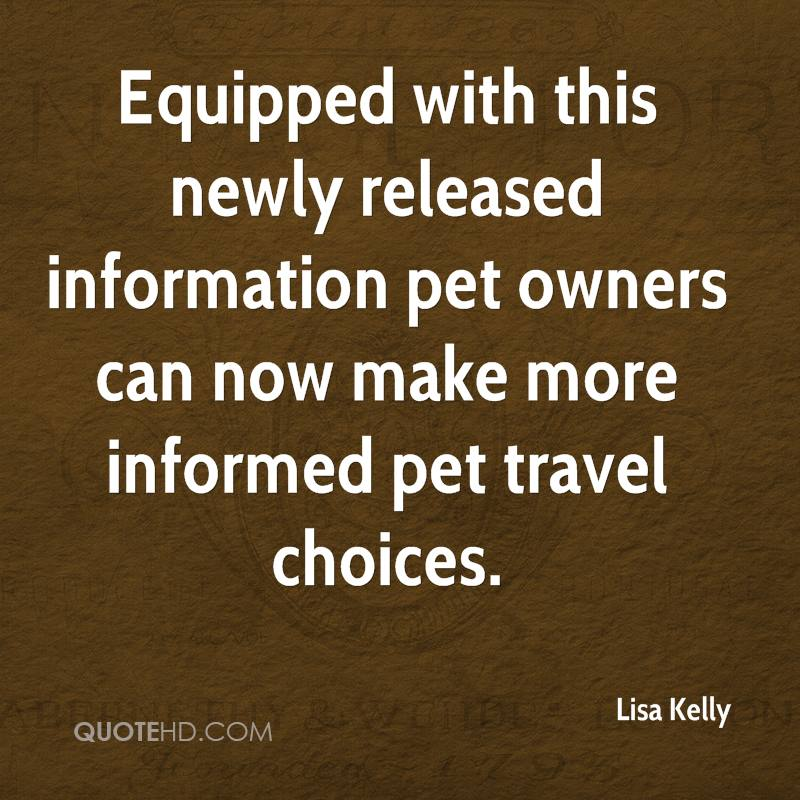 Equipped with this newly released information pet owners can now make more informed pet travel choices.