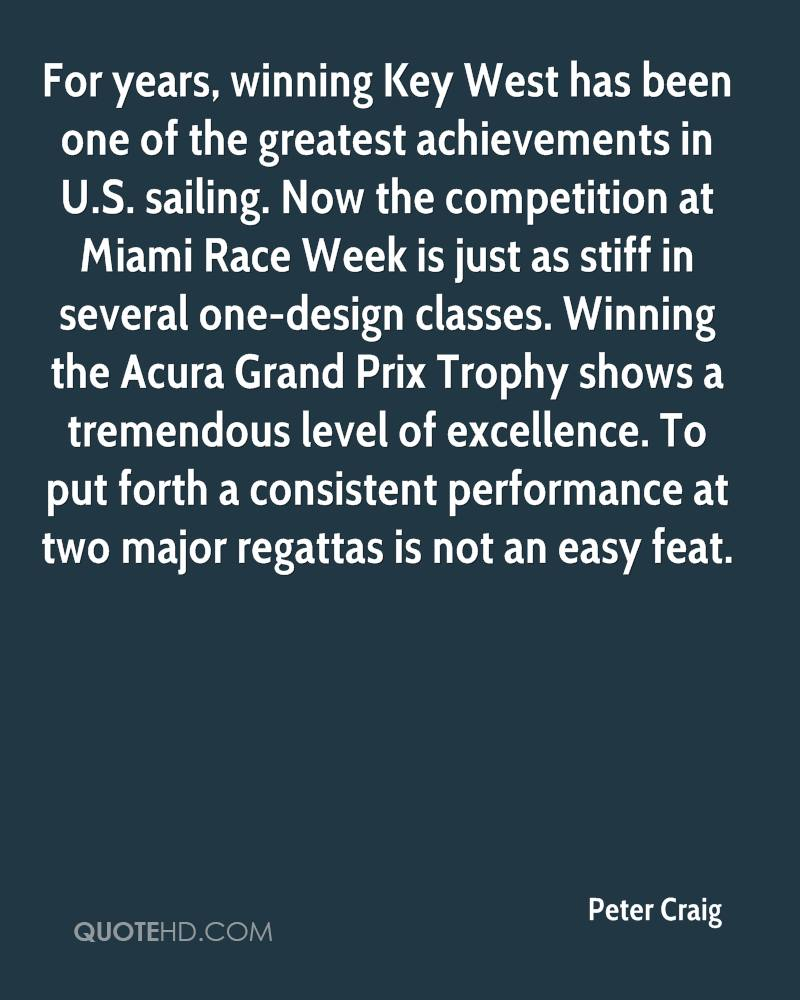 For years, winning Key West has been one of the greatest achievements in U.S. sailing. Now the competition at Miami Race Week is just as stiff in several one-design classes. Winning the Acura Grand Prix Trophy shows a tremendous level of excellence. To put forth a consistent performance at two major regattas is not an easy feat.