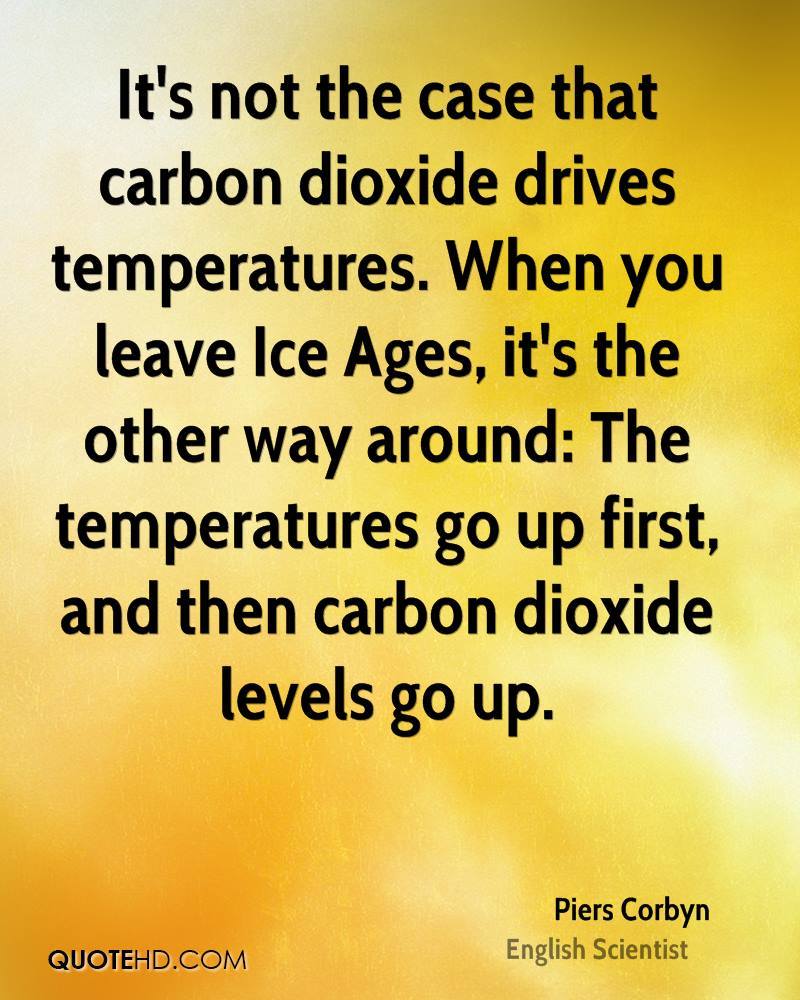It's not the case that carbon dioxide drives temperatures. When you leave Ice Ages, it's the other way around: The temperatures go up first, and then carbon dioxide levels go up.