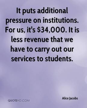 Alice Jacobs - It puts additional pressure on institutions. For us, it's $34,000. It is less revenue that we have to carry out our services to students.