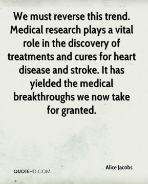 Alice Jacobs - We must reverse this trend. Medical research plays a vital role in the discovery of treatments and cures for heart disease and stroke. It has yielded the medical breakthroughs we now take for granted.