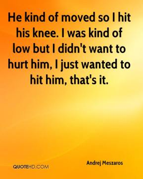 Andrej Meszaros - He kind of moved so I hit his knee. I was kind of low but I didn't want to hurt him, I just wanted to hit him, that's it.