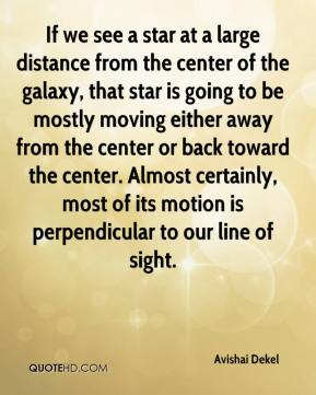 If we see a star at a large distance from the center of the galaxy, that star is going to be mostly moving either away from the center or back toward the center. Almost certainly, most of its motion is perpendicular to our line of sight.