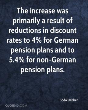 Bodo Uebber - The increase was primarily a result of reductions in discount rates to 4% for German pension plans and to 5.4% for non-German pension plans.