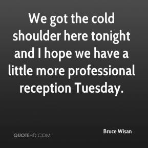 Bruce Wisan - We got the cold shoulder here tonight and I hope we have a little more professional reception Tuesday.