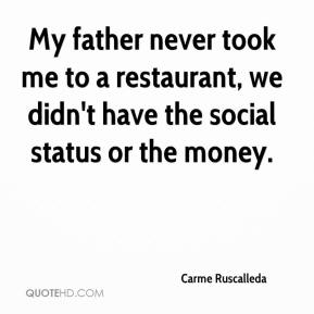 Carme Ruscalleda - My father never took me to a restaurant, we didn't have the social status or the money.