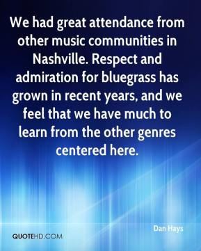 Dan Hays - We had great attendance from other music communities in Nashville. Respect and admiration for bluegrass has grown in recent years, and we feel that we have much to learn from the other genres centered here.