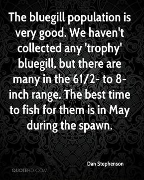 Dan Stephenson - The bluegill population is very good. We haven't collected any 'trophy' bluegill, but there are many in the 61/2- to 8-inch range. The best time to fish for them is in May during the spawn.