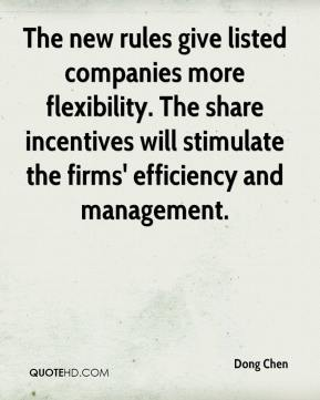 Dong Chen - The new rules give listed companies more flexibility. The share incentives will stimulate the firms' efficiency and management.