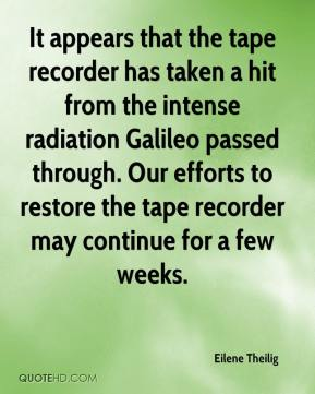 Eilene Theilig - It appears that the tape recorder has taken a hit from the intense radiation Galileo passed through. Our efforts to restore the tape recorder may continue for a few weeks.