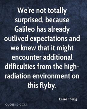 Eilene Theilig - We're not totally surprised, because Galileo has already outlived expectations and we knew that it might encounter additional difficulties from the high-radiation environment on this flyby.