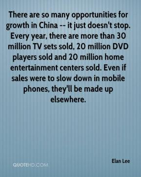 Elan Lee - There are so many opportunities for growth in China -- it just doesn't stop. Every year, there are more than 30 million TV sets sold, 20 million DVD players sold and 20 million home entertainment centers sold. Even if sales were to slow down in mobile phones, they'll be made up elsewhere.