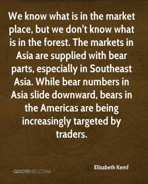 We know what is in the market place, but we don't know what is in the forest. The markets in Asia are supplied with bear parts, especially in Southeast Asia. While bear numbers in Asia slide downward, bears in the Americas are being increasingly targeted by traders.