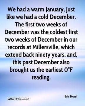 Eric Horst - We had a warm January, just like we had a cold December. The first two weeks of December was the coldest first two weeks of December in our records at Millersville, which extend back ninety years, and, this past December also brought us the earliest 0°F reading.