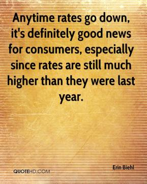 Erin Biehl - Anytime rates go down, it's definitely good news for consumers, especially since rates are still much higher than they were last year.