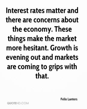 Felix Lanters - Interest rates matter and there are concerns about the economy. These things make the market more hesitant. Growth is evening out and markets are coming to grips with that.