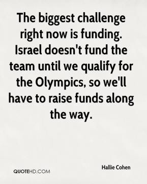 Hallie Cohen - The biggest challenge right now is funding. Israel doesn't fund the team until we qualify for the Olympics, so we'll have to raise funds along the way.